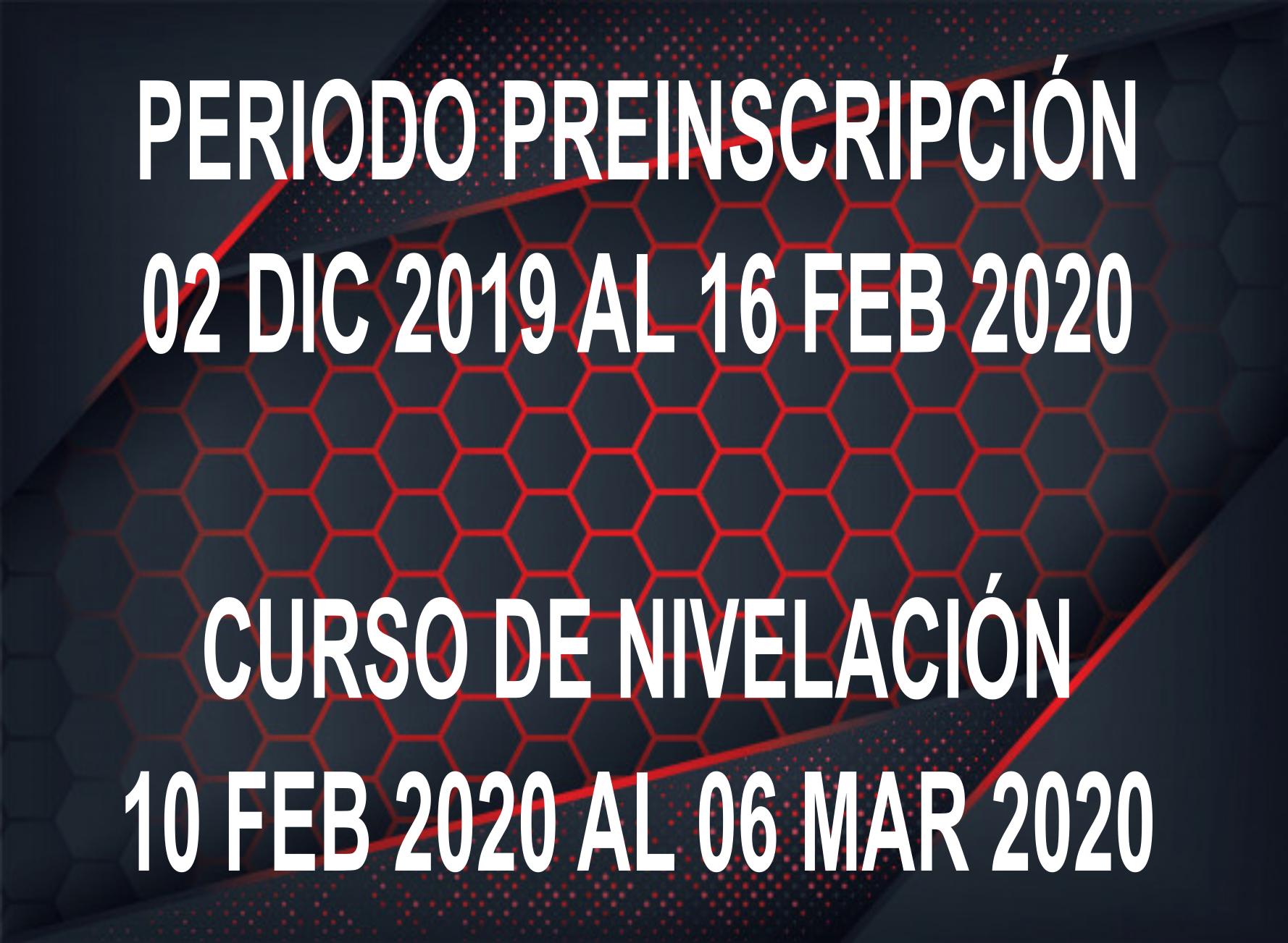 PREINSCRIPCIÓN 2020